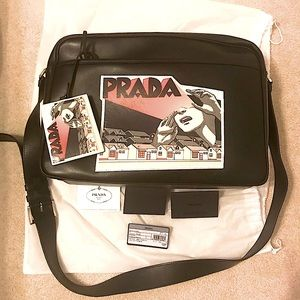 PRADA Leather Comic Strip Messenger bag